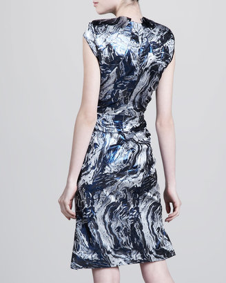 Zac Posen Swirl-Print V-Neck Dress