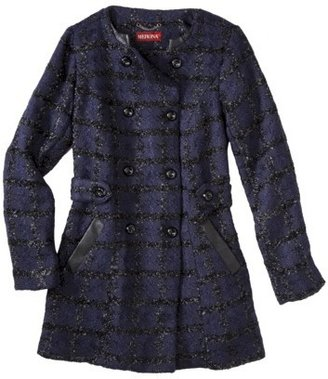 Merona Women's Collarless Luxe Coat -Dark Blue