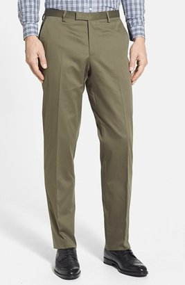 HUGO BOSS 'Sharp' Flat Front Stretch Cotton Trousers