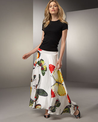 Jay Strongwater Crew-Neck Tee & Butterfly-Print Skirt