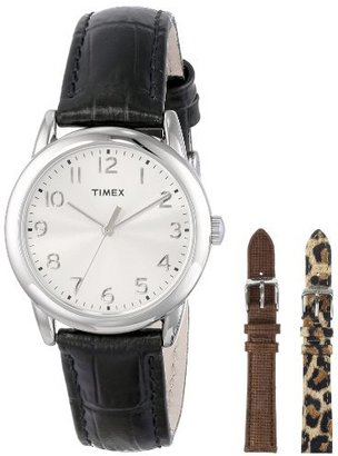 Timex Women's UG0102TB Black Croco Patterned Leather Strap Watch Set $60 thestylecure.com