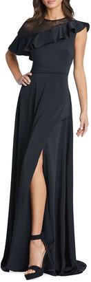 Mac Duggal Asymmetric Ruffle Sheath Gown