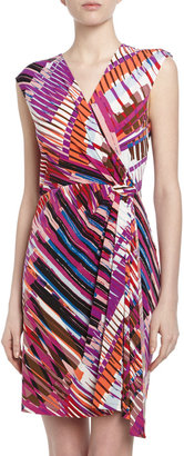 Max & Cleo Mixed Media Side-Gathered Sheath Dress, Orchid