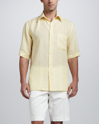 Brioni Short-Sleeve Linen Shirt with Stripe Contrast, Yellow