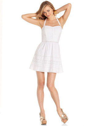 GUESS Dress, Sleeveless Halter Lace A-Line