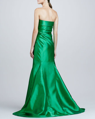 Badgley Mischka Collection Ruch-Side Strapless Mermaid Gown