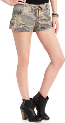 Freestyle Juniors Shorts, Embroidered Camouflage-Print