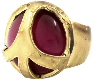 Low Luv x Erin Wasson Red Cat Eye Stone Peace Cage Ring - 14 Karat Yellow Gold Plated