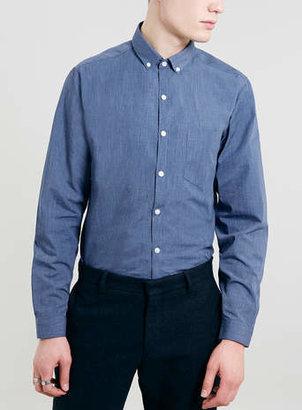 Topman Blue Marl Long Sleeve Smart Shirt