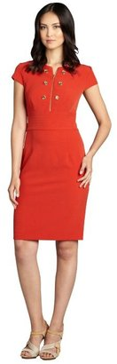 SD Collection rust red zip double breasted cap sleeve dress