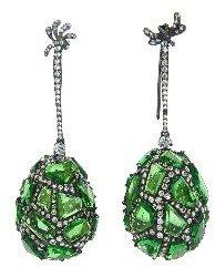 Arunashi Tsavorite and Diamond Egg Earrings