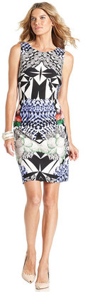 Ivanka Trump Dress, Sleeveless Multi-Print Sheath