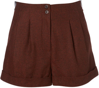 Topshop Rust Faux Leather Trim Tweed Shorts