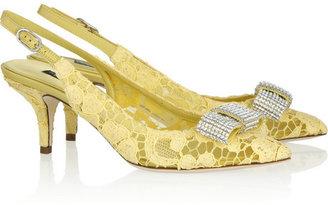 Dolce & Gabbana Crystal-embellished lace slingbacks