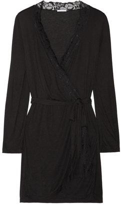 Eberjey Mila lace-trimmed jersey robe