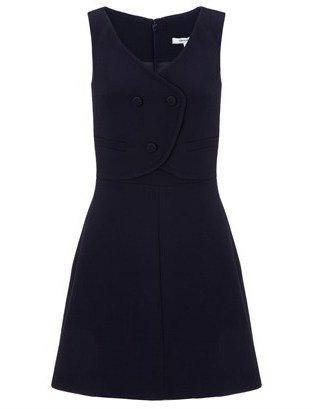 Carven Navy Wool Waist Coat Dress
