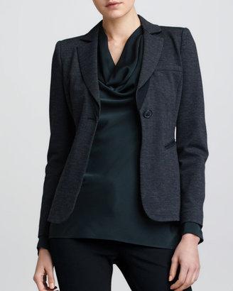 Armani Collezioni Fitted Jersey Jacket, Black