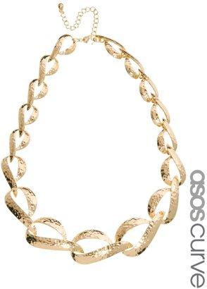 Asos Vintage Style Hammered Link Necklace - Gold