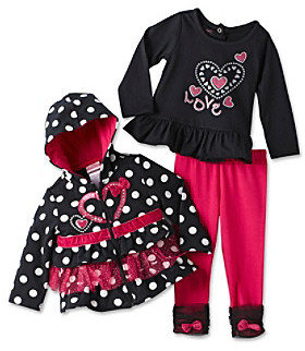 Nannette Baby Girls' Black/Pink 3-pc. Love Hoodie Outfit Set