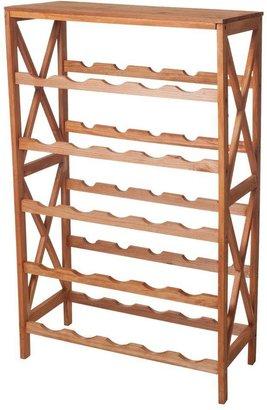 Lavish Home 21.1 in. W 25-Bottle Classic Rustic Wood Wine Rack