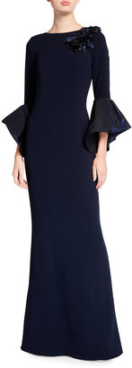 Rickie Freeman For Teri Jon Taffeta Trumpet Sleeve Crepe Column Gown