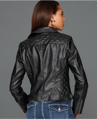 INC International Concepts Jacket, Faux-Leather Studded Quilted Motorcycle
