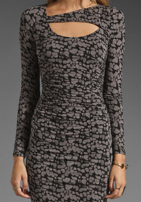 Tracy Reese Wide Awake Baby Spots Printed Keyhole Dress in Black/Flint