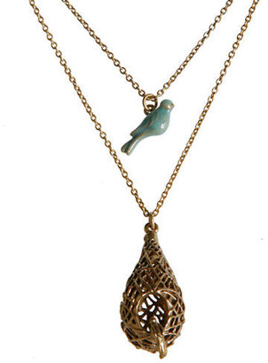 Lucky Brand Gold-Tone Double Layer Pendant Necklace