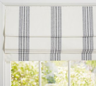 Pottery Barn Riviera Striped Linen/Cotton Cordless Roman Blackout Shade
