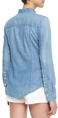 Neiman Marcus Cusp by Double Pocket Chambray Shirt, Light Marble
