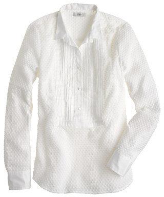 J.Crew Swiss-dot tuxedo shirt