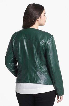Halogen Quilted Lapel Leather Moto Jacket (Plus Size)