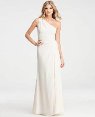 Ann Taylor Petite Silk Crepe One Shoulder Gown