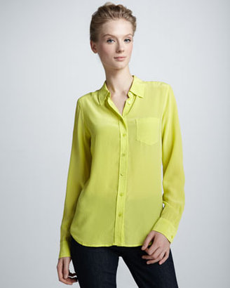 Equipment Brett Super Vintage Wash Blouse, Canary