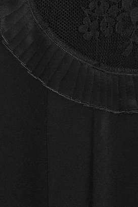 Miu Miu Lace-trimmed silk top