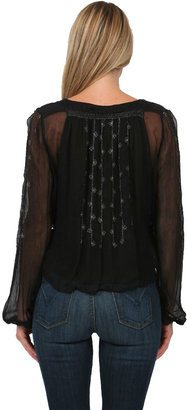 Free People Midnight Shimmer Blouse in Black