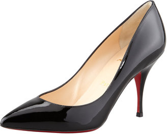 Christian Louboutin Piou Piou Patent Point-Toe Red Sole Pump, Black