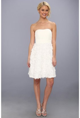 Donna Morgan Pleated Bodice Novelty Dress (White Lily) - Apparel