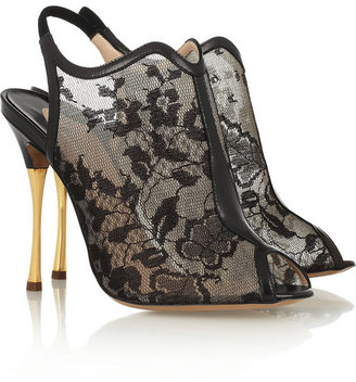 Nicholas Kirkwood Lace-mesh and leather sandals