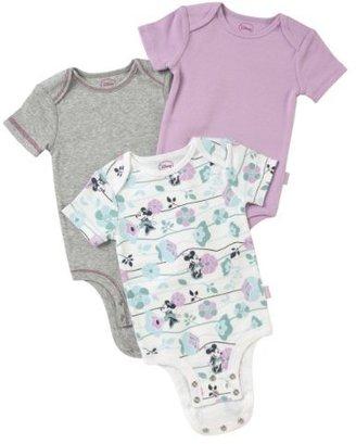 "Disney Minnie Mouse ""Floral"" Cuddly Bodysuit 3-Pack"