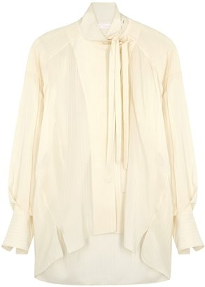 Chloé Cream Striped Silk Blouse