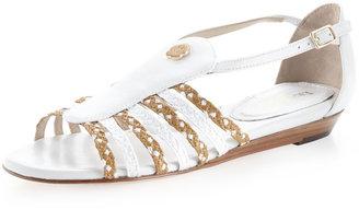 Eric Javits Grecot Low-Wedge Sandal, Natural/White