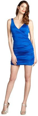 Jay Godfrey cobalt silk blend 'Bruno' low v-neck ruched dress