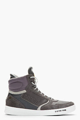 G Star G-STAR Charcoal Leather & Suede Yard Pyro Sneakers
