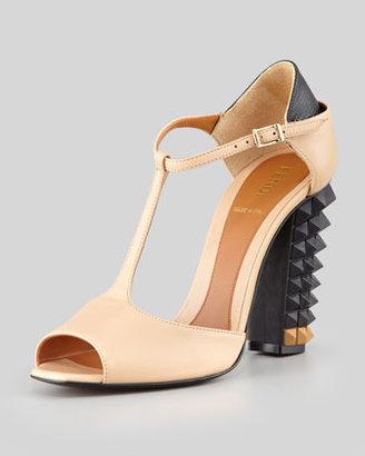 Fendi Polifonia Stud-Heel T-Strap Pump, Nude/Black