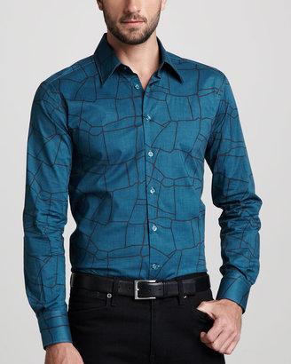 Versace Line-Print Sport Shirt