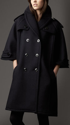 Burberry Bonded Wool Cashmere Cape-Sleeve Coat