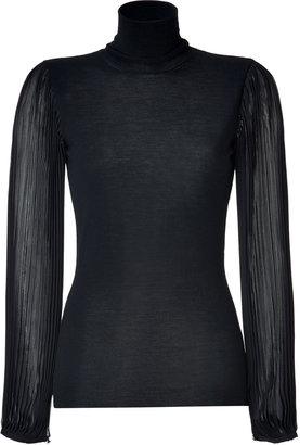Emilio Pucci Black Pleated Sleeve Turtleneck Pullover