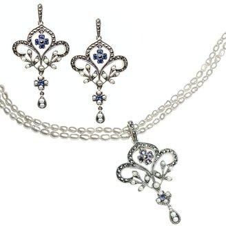 Dahlia Fleur-de-lis Silver Seed Pearl Pendant Necklace & Chandelier Earrings Sapphire Set Vintage Collection