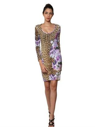 Just Cavalli Printed Light Crepe Jersey Dress